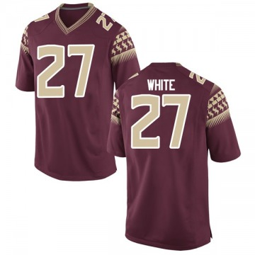 Men's Zaquandre White Florida State Seminoles Nike Game White Garnet Football College Jersey